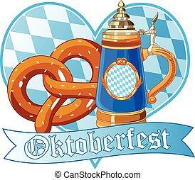 oktoberfest, grande tasse, bretzel