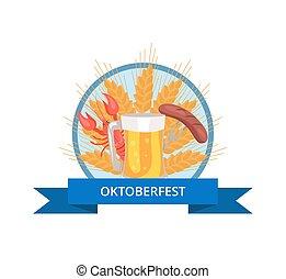 oktoberfest, gril, bière, verre, conception, logo