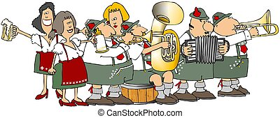 Oktoberfest Group - This illustration depicts a German band...