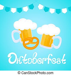 Oktoberfest Hand drawn lettering. Mug of beer, pretzel.