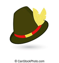 Oktoberfest hat. Traditional German hunting hat with feather