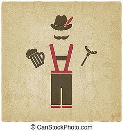 oktoberfest, hombre, con, jarro de cerveza, y, embutido