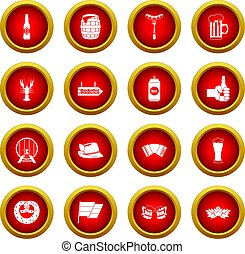 Oktoberfest icon red circle set