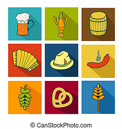 Oktoberfest icons set - Oktoberfest colorful vector icons...