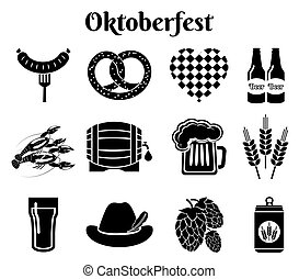 Oktoberfest icons - Vector Oktoberfest beer icons set with...
