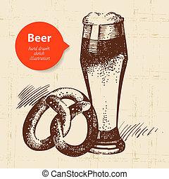 oktoberfest, illustration., årgång, hand, bakgrund., öl, design, retro, oavgjord