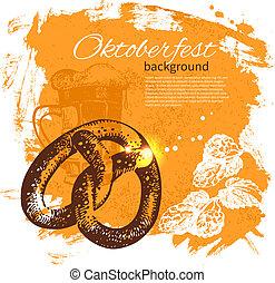 oktoberfest, illustration., 葡萄收获期, 手, 背景。, 啤酒, 飞溅, 设计, 一滴, 画...