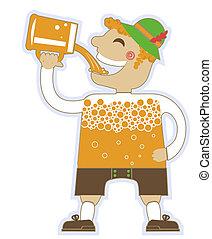 oktoberfest, illustration, isolé, homme, beer., vecteur, boire, conception, lot, blanc