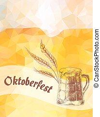 oktoberfest, illustration., kufel, wektor, zasuszony, zboże, ears.
