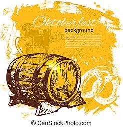 oktoberfest, illustration., rocznik wina, ręka, tło., piwo, bryzg, projektować, kropelka, menu, pociągnięty, retro