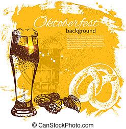 oktoberfest, illustration., szüret, kéz, háttér., sör, loccsanás, tervezés, folt, húzott, retro