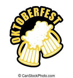 oktoberfest, jarras, alcohol, alemán, signo., fiesta, cerveza, emblema, bebida, logo., tintinee