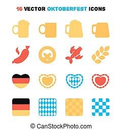 oktoberfest, jogo, ícones