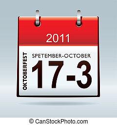 oktoberfest, kalender, pictogram