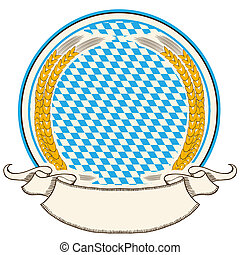 Oktoberfest label . Bavaria flag background with scroll for...