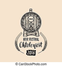 Oktoberfest label. Beer festival sign with hand sketched wooden barrel. Vector vintage brewery badge. Wiesn symbol