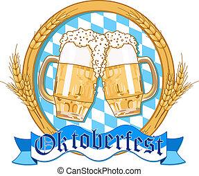 Oktoberfest label design with beer glasses