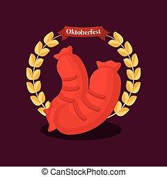 oktoberfest label with sausage