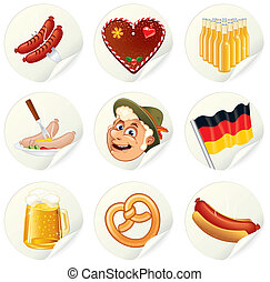 Oktoberfest Labels - Labels with Oktoberfest Symbols and...