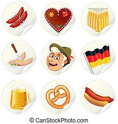 Oktoberfest Labels - Labels with Oktoberfest Symbols and...
