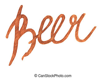 Oktoberfest lettering with beer text. Hand drawn watercolor painting on white background clip art graphic elements for creative design and printable decor.