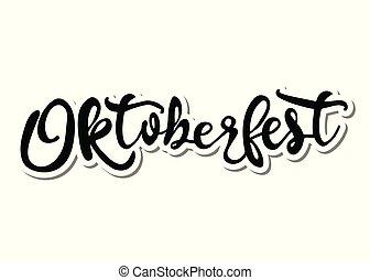 oktoberfest, lettrage, isolé, illustration, arrière-plan., blanc