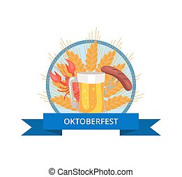 Oktoberfest Logo Design with Glass of Beer, Grill