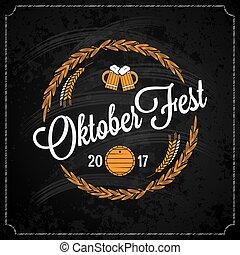 oktoberfest logo on chalk design background
