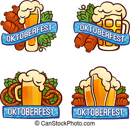 Oktoberfest logo set, cartoon style