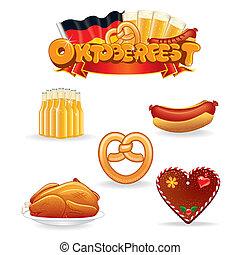 oktoberfest, művészet, csíptet, élelmiszer, ital, icons., vektor