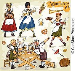 oktoberfest, -, main, dessiné, collection, -, partie, 1.