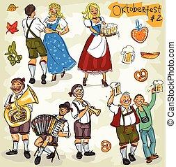 oktoberfest, -, main, dessiné, collection, -, partie, 2.
