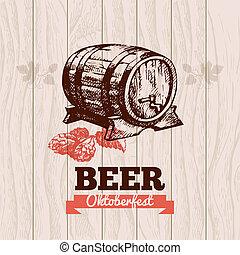 oktoberfest, main, menu, bière, conception, arrière-plan., vendange, illustration., dessiné