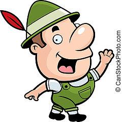 Oktoberfest Man - A happy cartoon Oktoberfest man waving and...