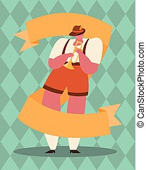 oktoberfest man cartoon with trumpet vector design