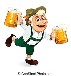 Oktoberfest Man - Hilarious Drunk Guy with mugs of beer at...