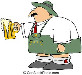 Oktoberfest Man With A Mug Of Beer - This illustration...