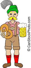 oktoberfest man with beer and pretzel