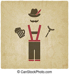 Oktoberfest man with beer mug and sausage - vector...