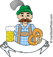 oktoberfest man with beer, pretzel and banner - vector...