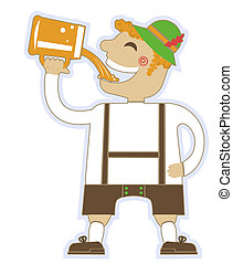 oktoberfest man with glasses of beer.Vector german isolated on white for design