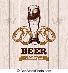 oktoberfest, mano, menú, cerveza, diseño, fondo., vendimia, ...