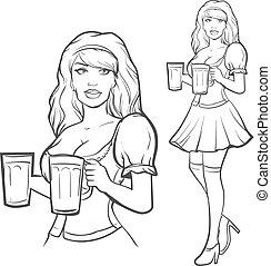 oktoberfest, menina, bonito, alemanha, cerveja