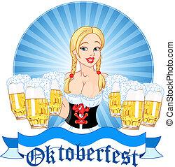 oktoberfest, menina, servindo, cerveja