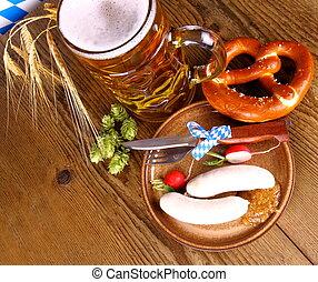 Oktoberfest menu with beer, white sausage, pretzel and...