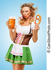 Oktoberfest mood. - Young sexy Oktoberfest woman wearing a...