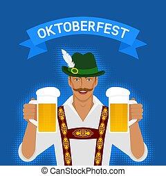 oktoberfest, nationale, man, bier, kostuum