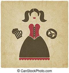 oktoberfest, niña, con, jarro de cerveza, y, pretzel