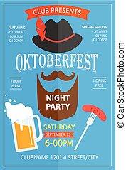 Oktoberfest night party invitation flyer design template
