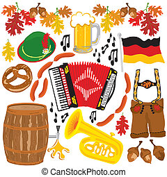 oktoberfest, partido, clipart, elementos
